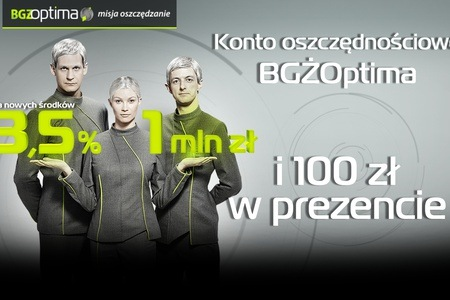 Groupon BGŻ Optima 3,5% + 100 zł