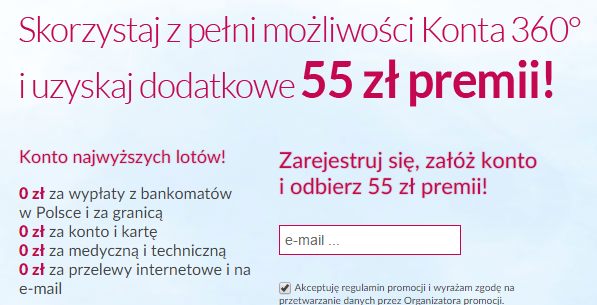 Promocja konta Millennium 360 z premią 55 zł
