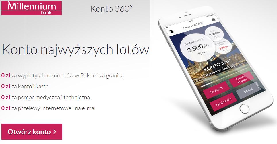 Promocja bankowa millenium 360 zl