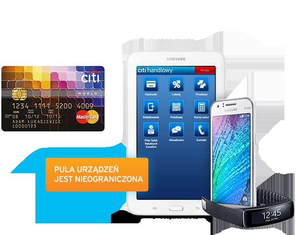 Tablet telefon opaska za założenie karty kredytowej